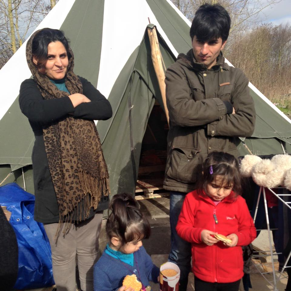Family living in old camp Dunkirk
