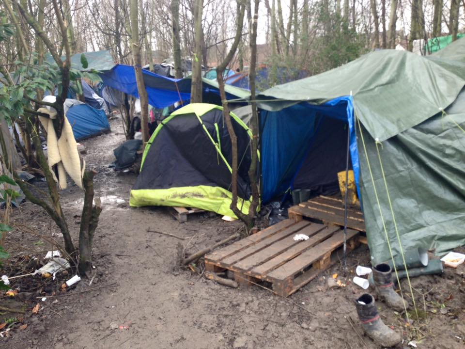 Tents in the mud